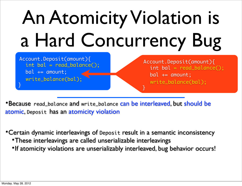 An Atomicity Violation is a Hard Concurrency Bu...
