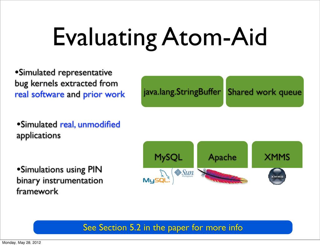 Evaluating Atom-Aid MySQL Apache XMMS java.lang...