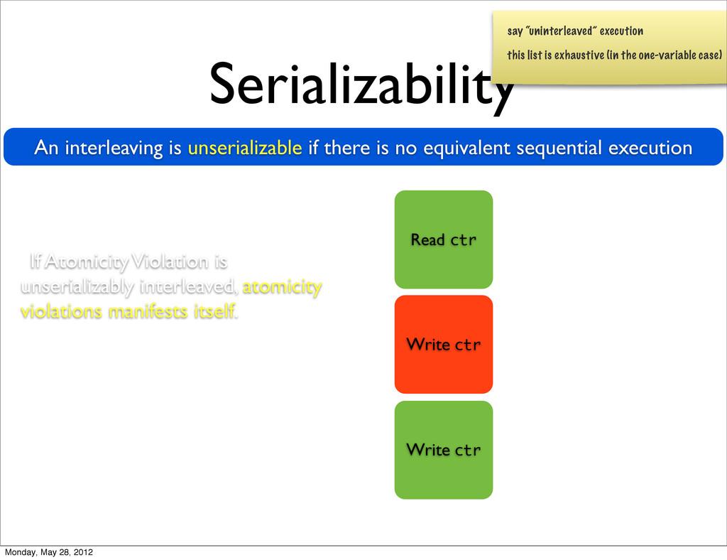 Serializability An interleaving is unserializab...