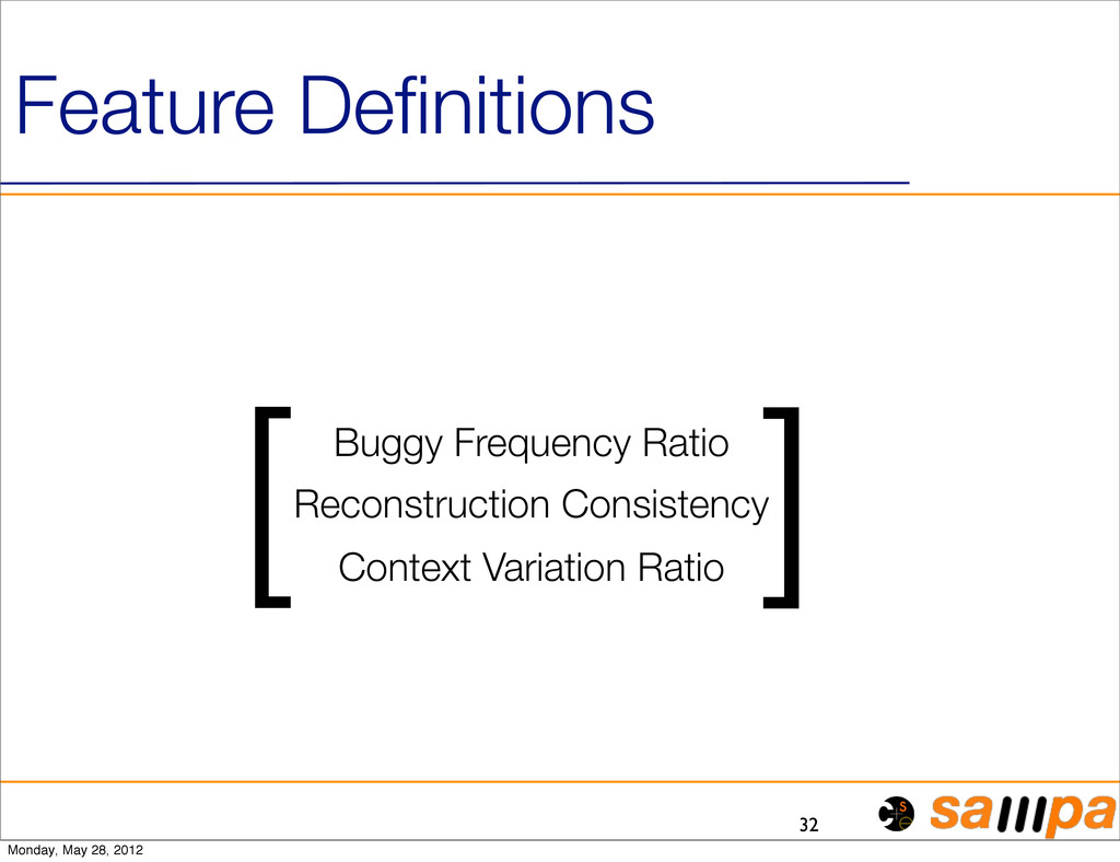 32 Feature Definitions [ ] Buggy Frequency Ratio...