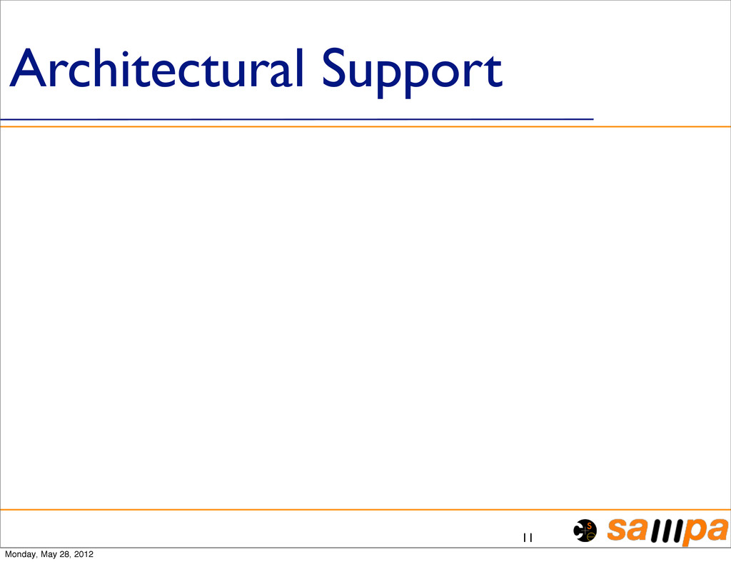 Architectural Support 11 Monday, May 28, 2012