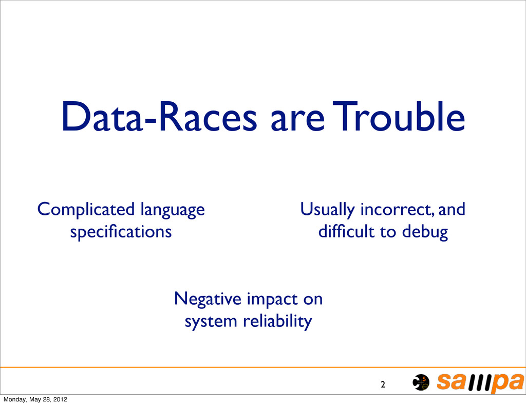 Data-Races are Trouble 2 Complicated language s...