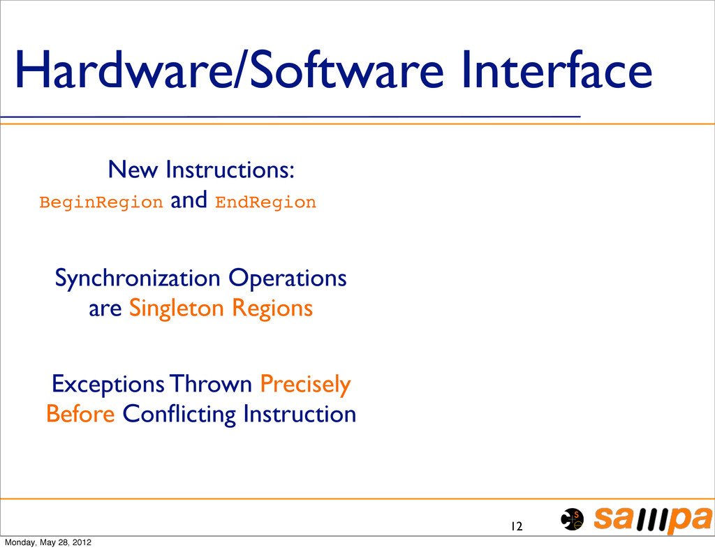 Hardware/Software Interface 12 New Instructions...