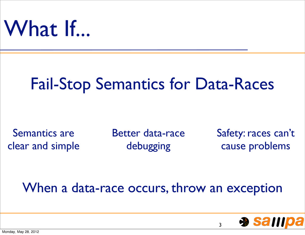 What If... 3 Fail-Stop Semantics for Data-Races...