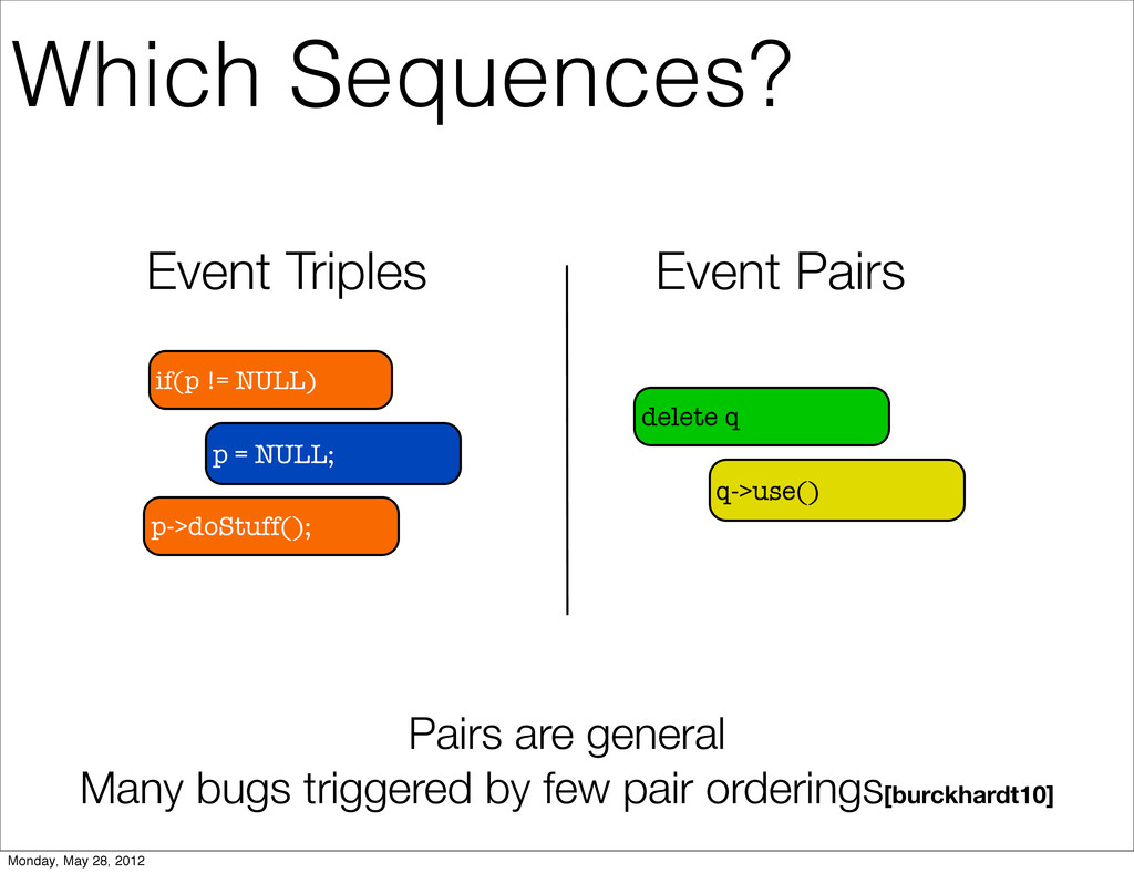 Event Triples Event Pairs if(p != NULL) p = NUL...
