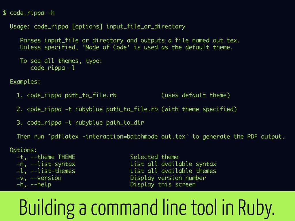 $ code_rippa -h Usage: code_rippa [options] inp...