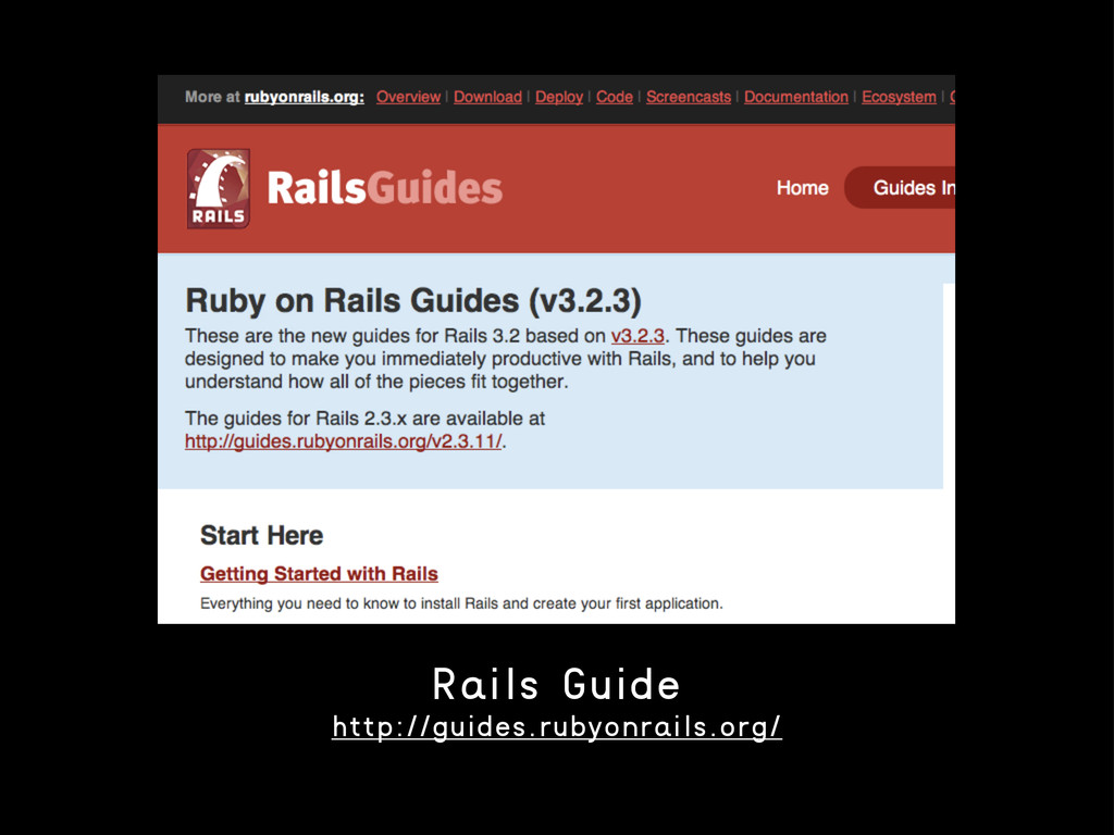 Rails Guide http://guides.rubyonrails.org/