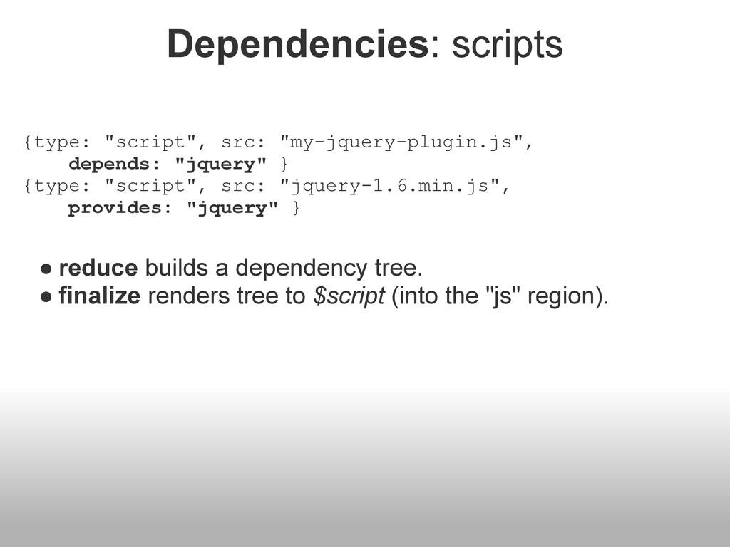 """Dependencies: scripts {type: """"script"""", src: """"my..."""