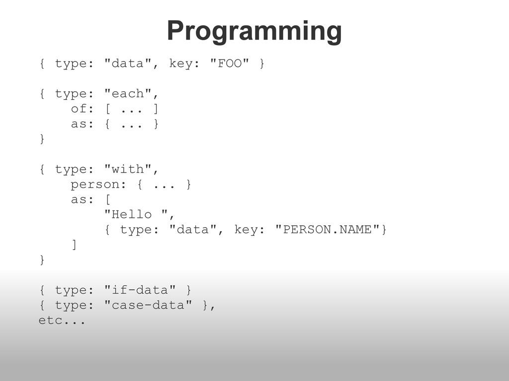"""Programming { type: """"data"""", key: """"FOO"""" } { type..."""