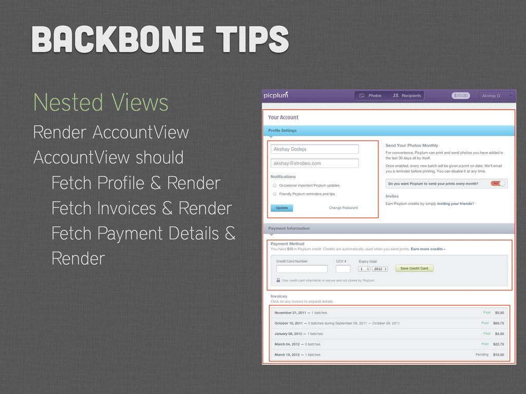 Nested Views Render AccountView AccountView sho...