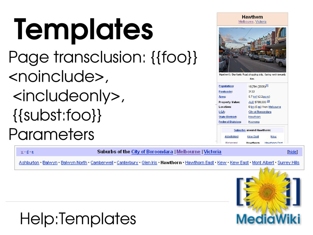 Page transclusion: {{foo}} <noinclude>, <includ...