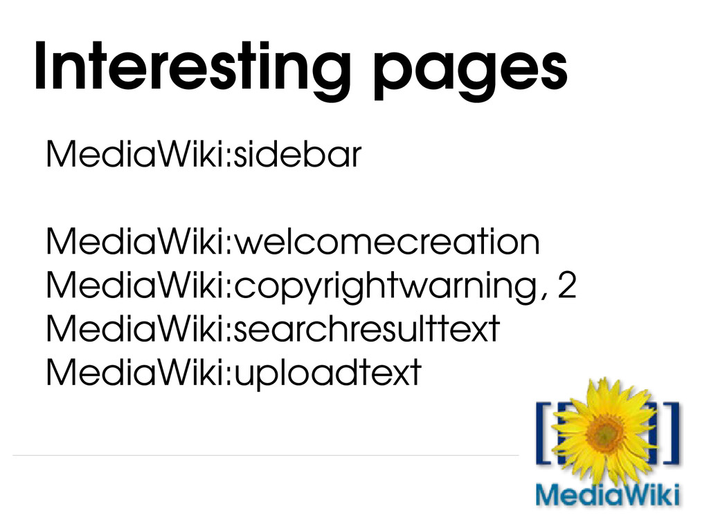 MediaWiki:sidebar MediaWiki:welcomecreation Med...