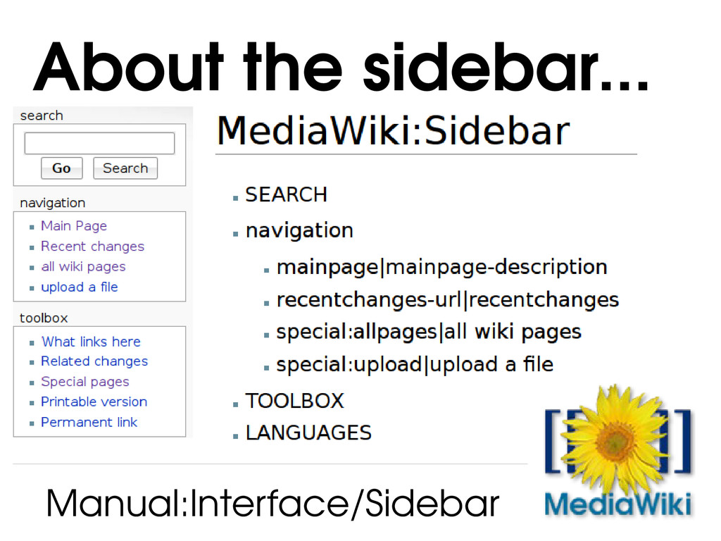 About the sidebar... Manual:Interface/Sidebar