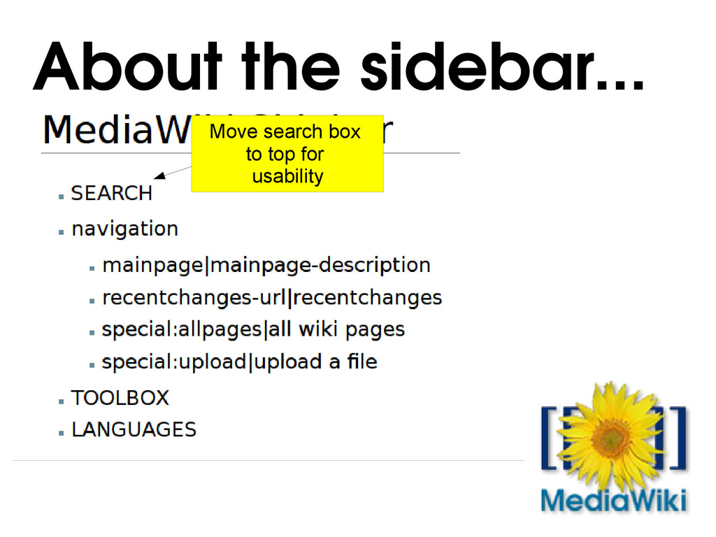 About the sidebar... Move search box to top for...