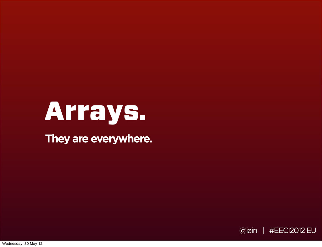 @iain | #EECI2012 EU Arrays. They are everywher...