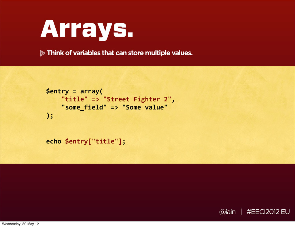 @iain | #EECI2012 EU Arrays. $entry	