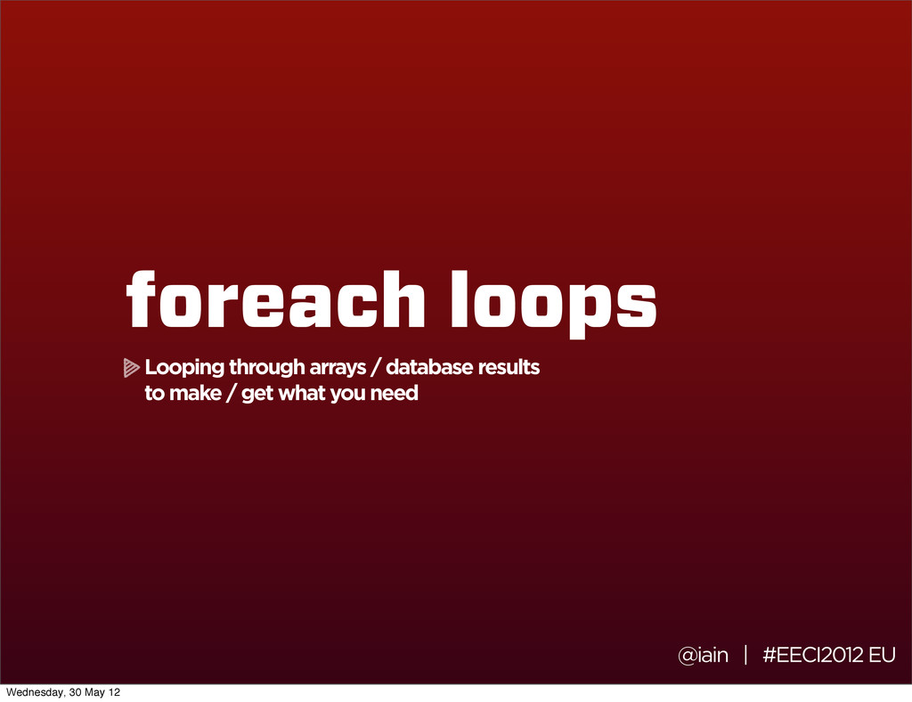 @iain | #EECI2012 EU foreach loops Looping thro...