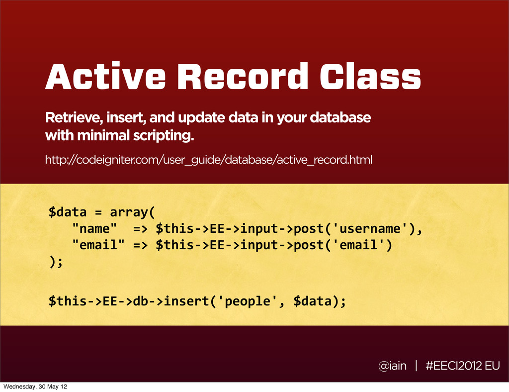 Active Record Class Retrieve, insert, and updat...