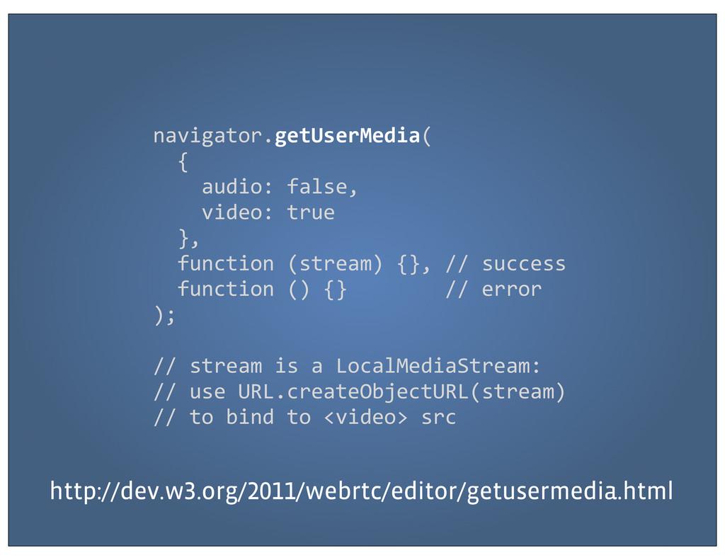 navigator.getUserMedia(   {    ...