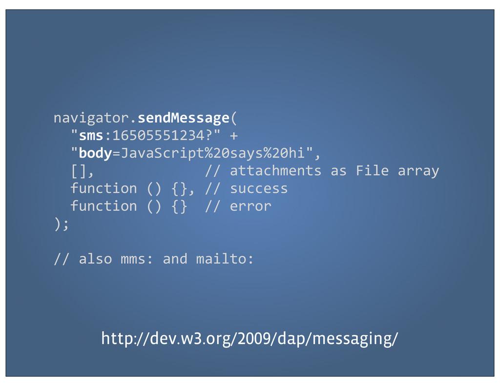 "navigator.sendMessage(   ""sms:16505551234..."