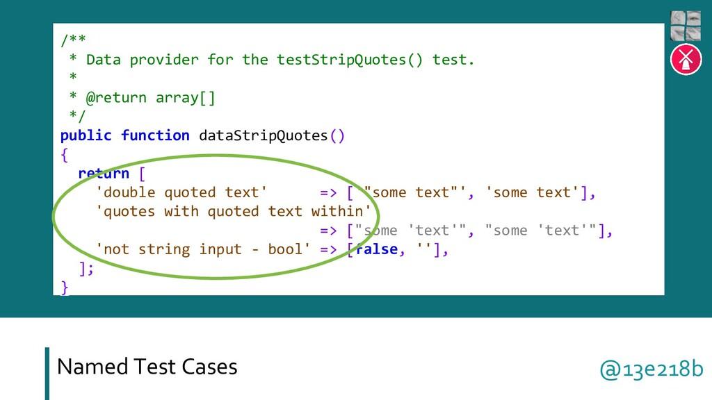 Named Test Cases /** * Data provider for the te...