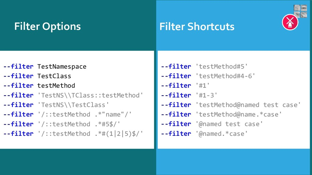 Filter Options Filter Shortcuts --filter TestNa...