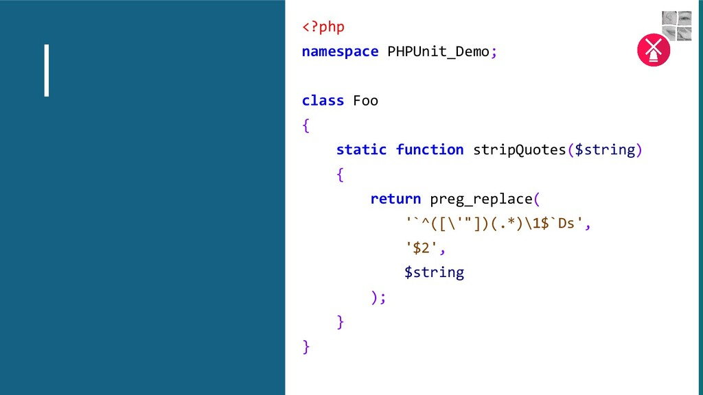 <?php namespace PHPUnit_Demo; class Foo { stati...