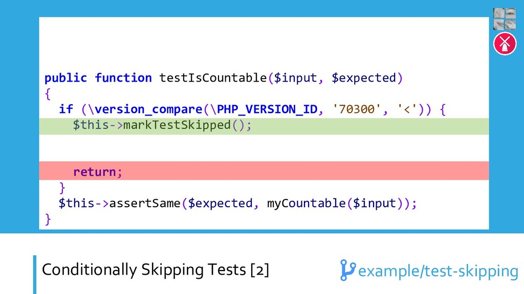 Conditionally Skipping Tests [2] public functio...