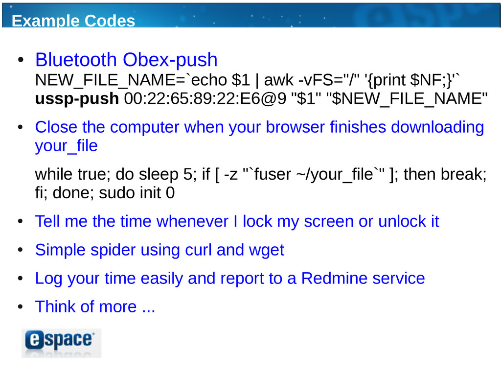 Example Codes ● Bluetooth Obex-push NEW_FILE_NA...