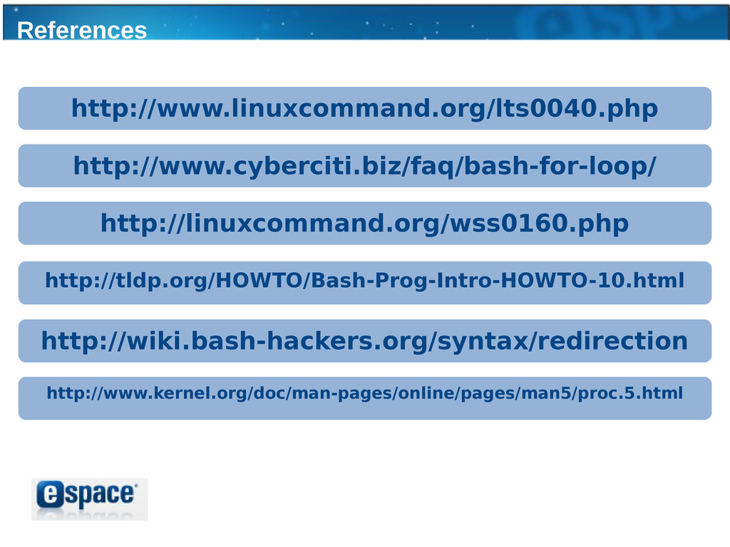 References http://www.linuxcommand.org/lts0040....