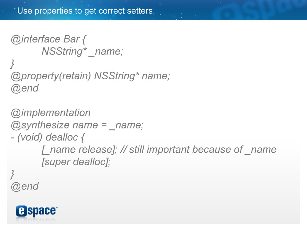 Use properties to get correct setters @interfac...