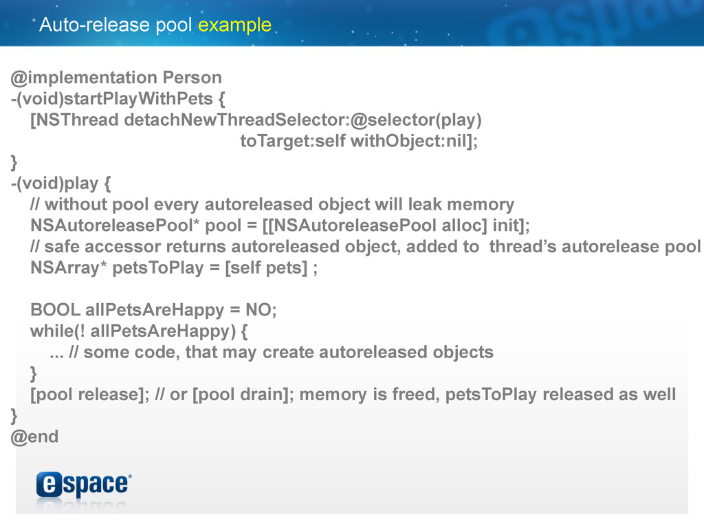 Auto-release pool example @implementation Perso...