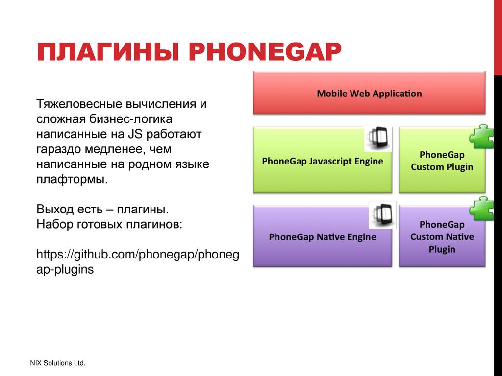 ПЛАГИНЫ PHONEGAP NIX Solutions Ltd. Тяжеловесны...