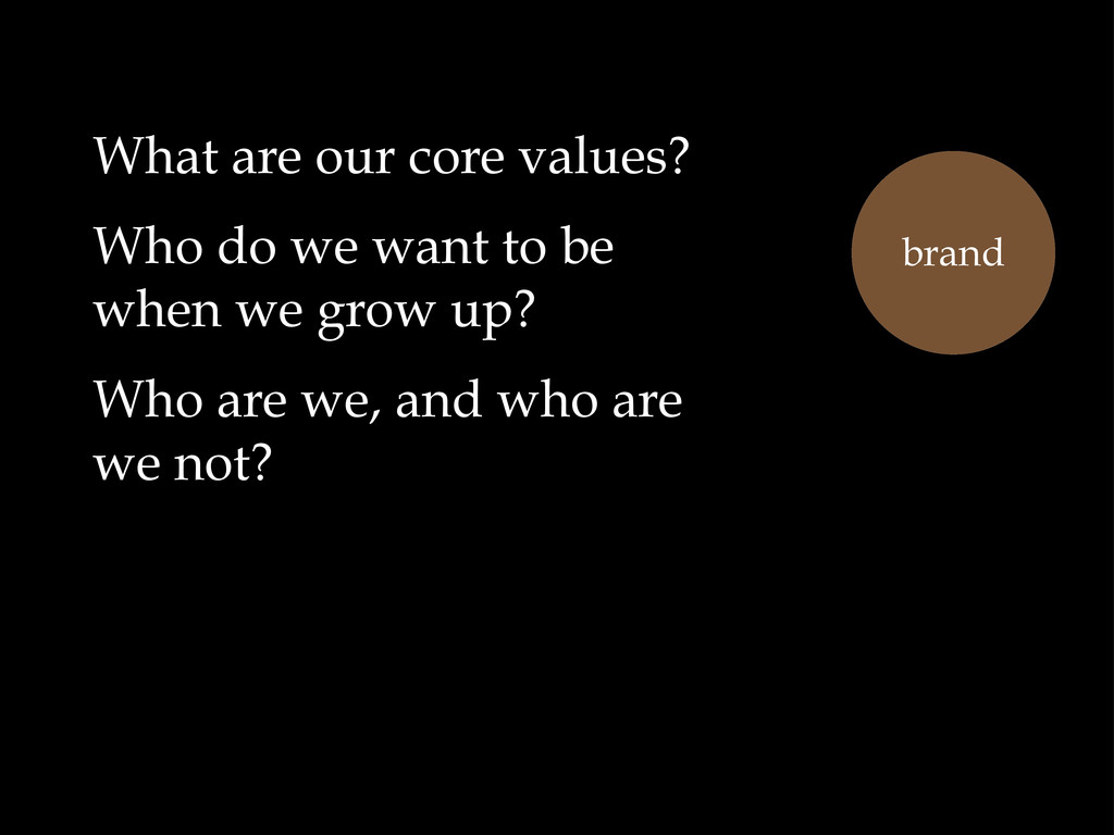 What are our core values? Who do we want to be ...