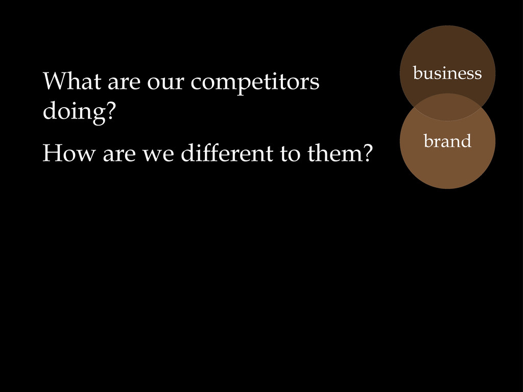 What are our competitors doing? How are we diff...