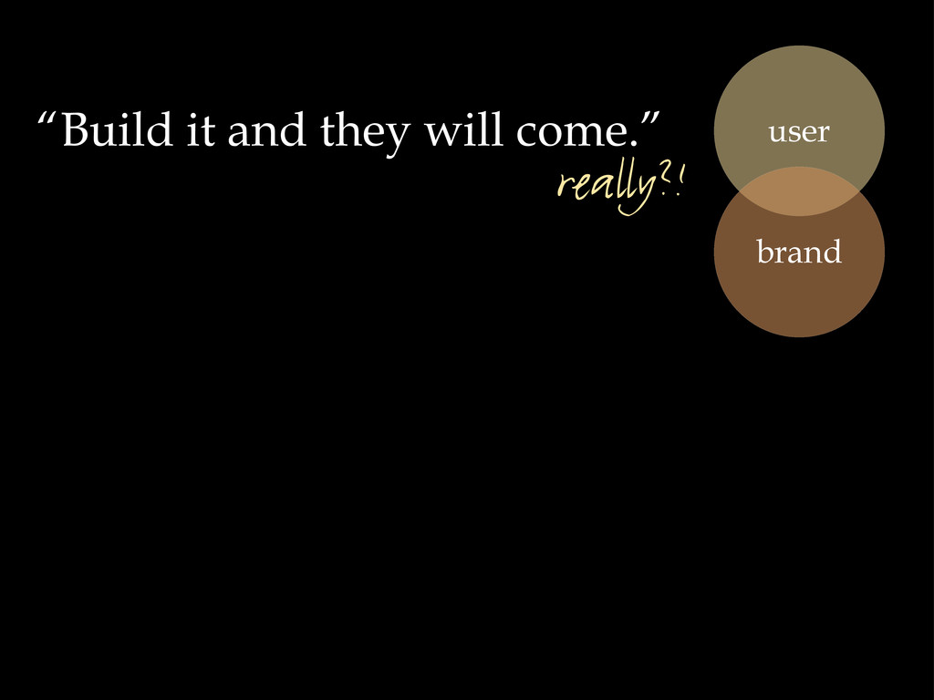 """""""Build it and they will come."""" user brand reall..."""