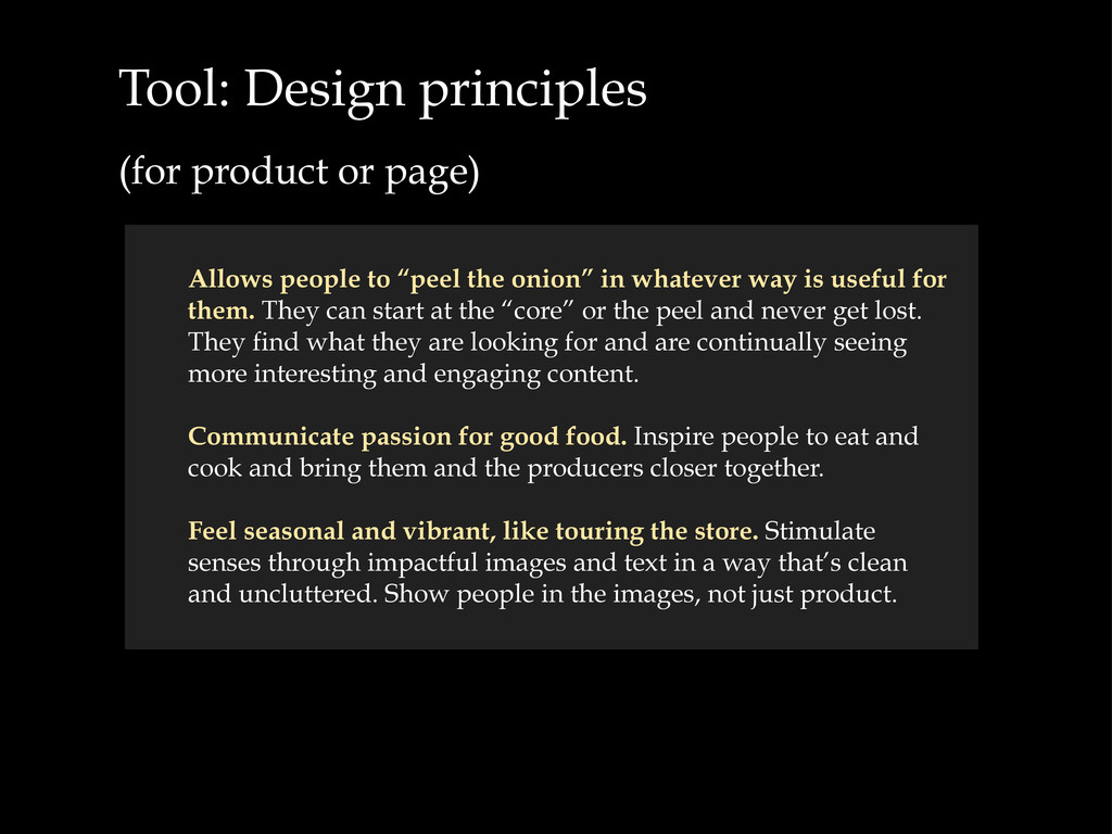 Tool: Design principles (for product or page) A...
