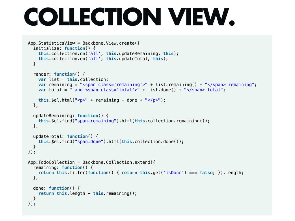 App.StatisticsView = Backbone.View.create({ ini...