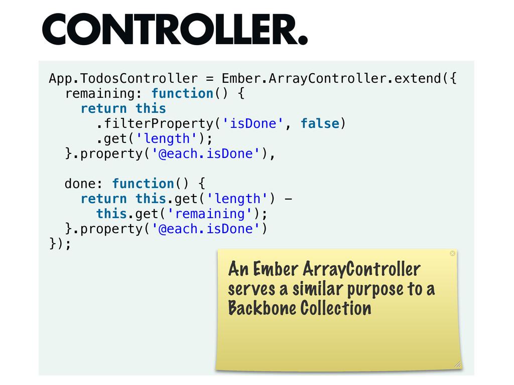 App.TodosController = Ember.ArrayController.ext...