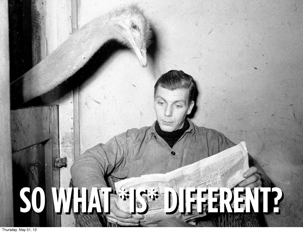 SO WHAT *IS* DIFFERENT? SO WHAT *IS* DIFFERENT?...