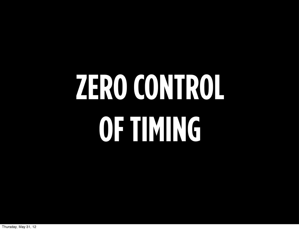 ZERO CONTROL OF TIMING Thursday, May 31, 12