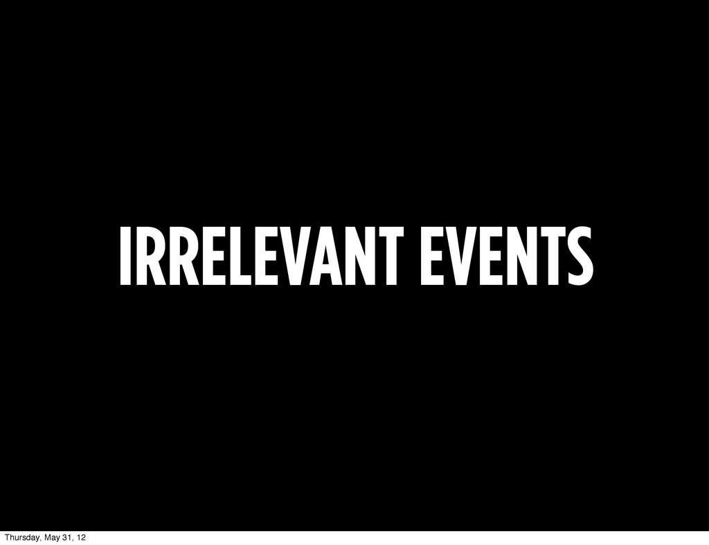 IRRELEVANT EVENTS Thursday, May 31, 12