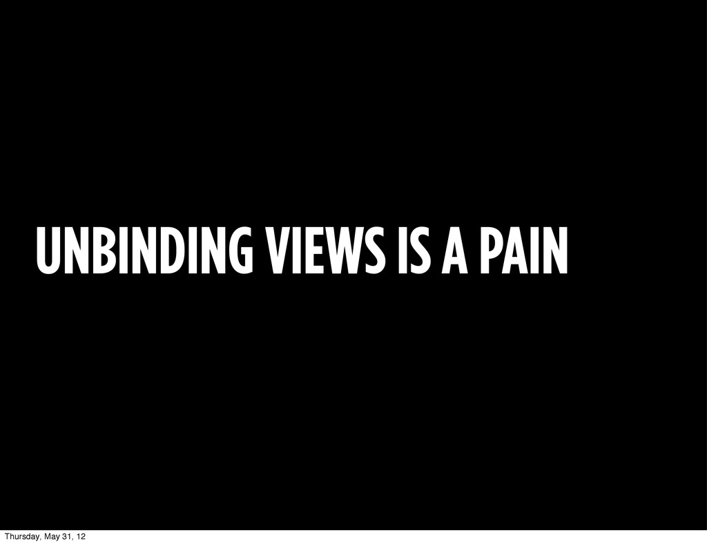 UNBINDING VIEWS IS A PAIN Thursday, May 31, 12