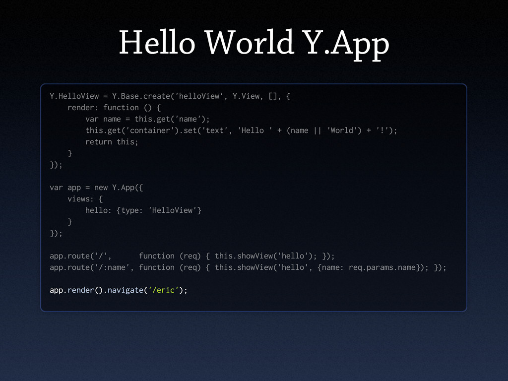 Hello World Y.App Y.HelloView = Y.Base.create('...