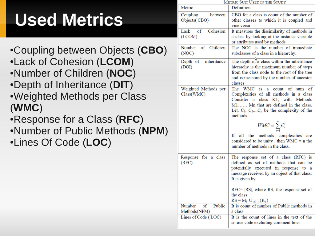 Used Metrics ● Coupling between Objects (CBO) ●...