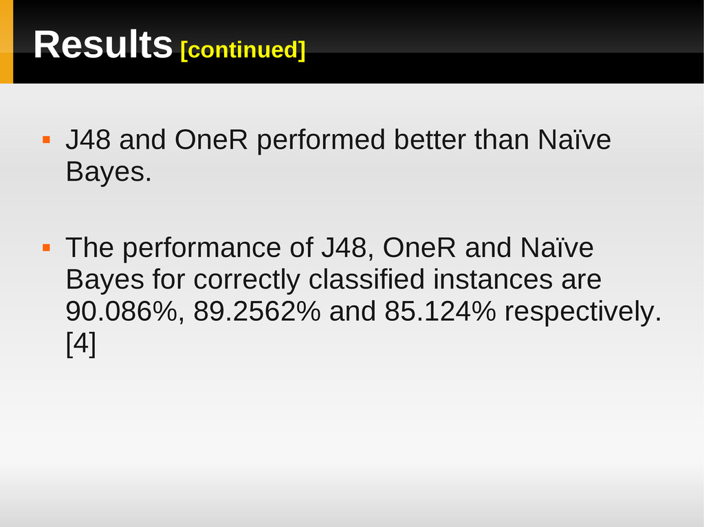 Results [continued]  J48 and OneR performed be...