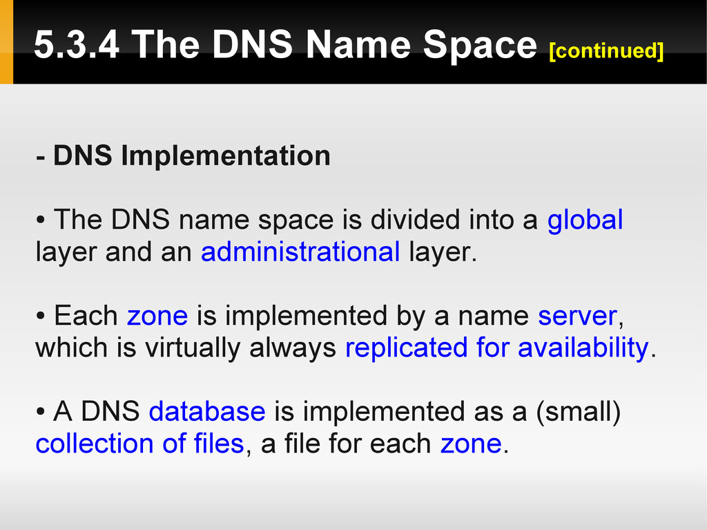 - DNS Implementation ● The DNS name space is di...