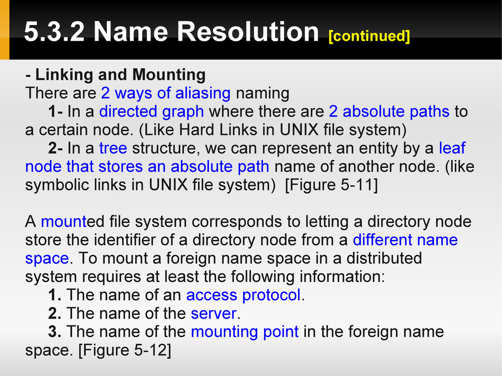5.3.2 Name Resolution [continued] - Linking and...