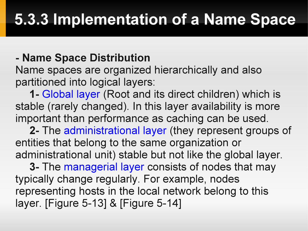 5.3.3 Implementation of a Name Space - Name Spa...
