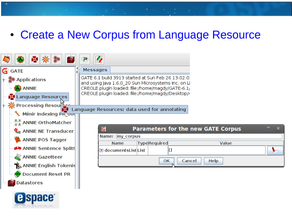 ● Create a New Corpus from Language Resource